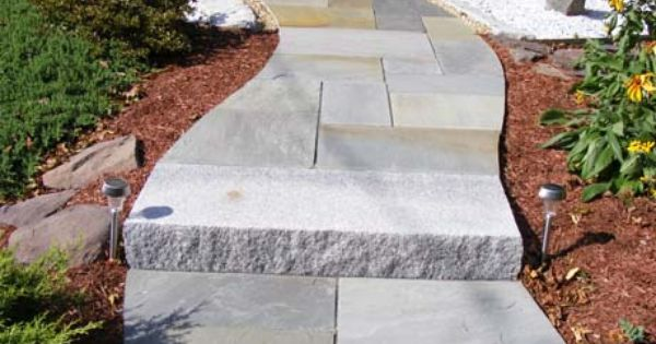 Unique Walkway Idea Woodbury Gray Granite Step And Full Color Pattern Bluestone Winding Walkway To Fron Hardscape Large Backyard Landscaping Backyard Walkway