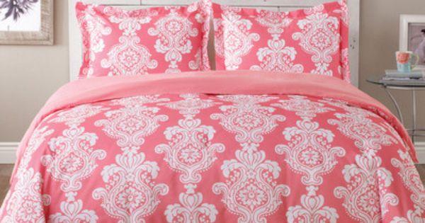 Tommy Hilfiger Bright Pink Amp Green Damask 3p Comforter Set
