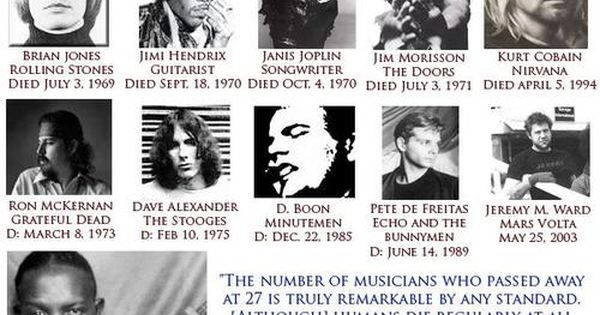 27 Club And Illuminati Connection: Famous Musicians Who Died At Age 27 | Music | Pinterest | Famous musicians, Musicians and Songs