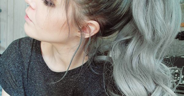 Top Ponytailof nice gray ombre hair, wonderful curly ponytail idea from our