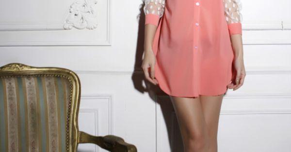 Pink Polka Dot Mesh Long Sleeve Curved Hem Shirt...love her hair too
