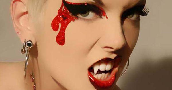 Vampire Makeup- Bloodlust Glitter Eyes, and False Eyelashes