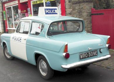 Old Ford Anglia Used As An Early British Police Car British