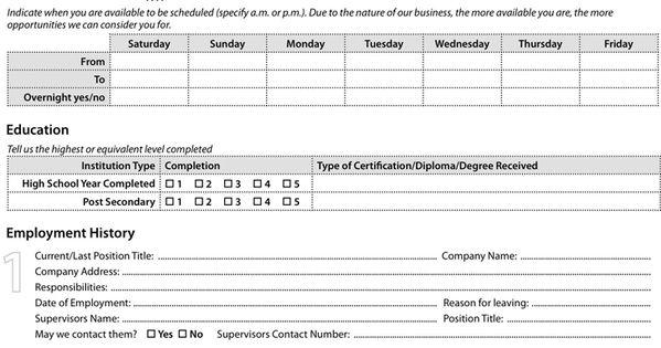 WalMart Application Form employment applications
