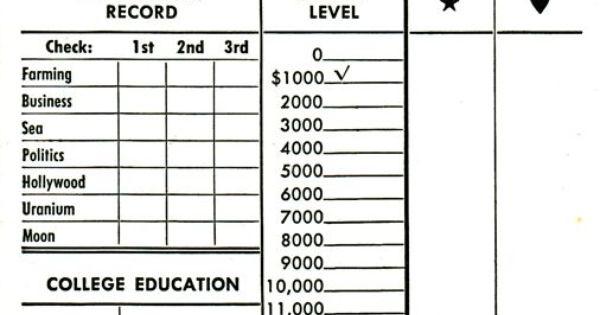 Careers Score Sheet Careers Board Game Score Sheets