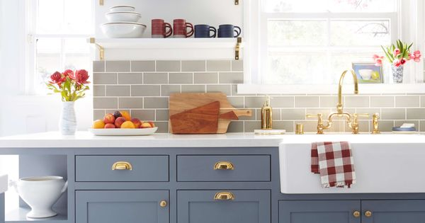 country kitchen cabinet colors emily henderson blue grey kitchen with concrete tiles in 14140