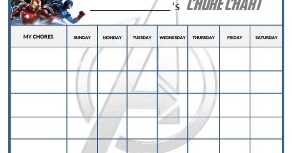 free printable avengers chore chart