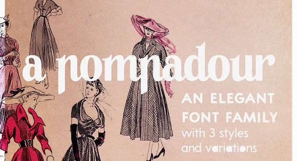A Pompadour is an elegant retro font family, in two styles