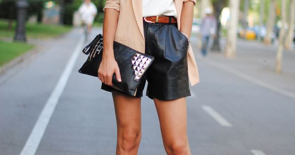 leather shorts. nice outfit