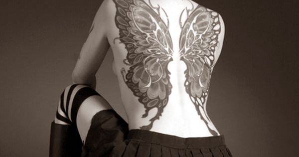 Butterfly Wings Tattoo on back
