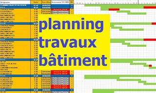 Exemple Planning Travaux Construction Batiment En Excel Planning Chantier Planning De Travail Modele De Planning