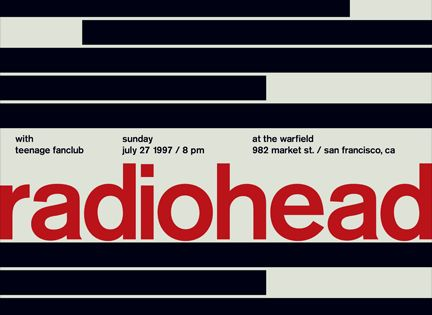 Radiohead Vintage Rock Poster The black and white bars resemble piano keys.
