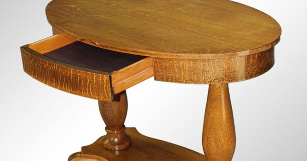 Antique Oval Oak Library Table With Drawer Nantucket