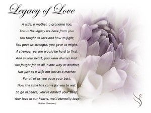 Funeral Poem Legacy Of Love Mother Poems Funeral Poems Mom Poems