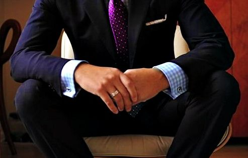 Black Suit wt. Tie - French Cuffs