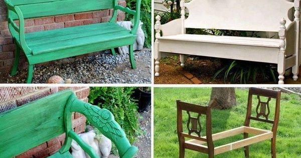 eine gartenbank aus zwei alten holzst hlen bauen garten. Black Bedroom Furniture Sets. Home Design Ideas