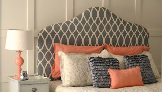 Love this color scheme!! Stencil fabric DIY headboard for the bedroom. Great