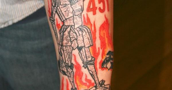 This tattoo 39 s taken from the book cover artwork from ray for Fahrenheit 451 tattoo