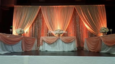 Gold Champaign Sequin Backdrop With Peach Coral Draping Sweet Heart Table Design Decor Ideas Head Table Wedding Backdrop Wedding Backdrop Gold Wedding Chairs