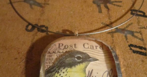 yellow warbler vintage eyeglass lens necklace by