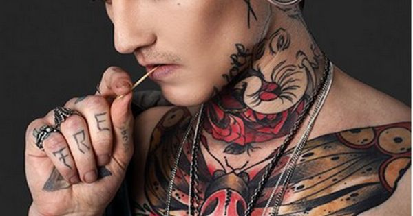 Goth butterfly tattoo with skull for men cool tattoos for Gothic neck tattoos