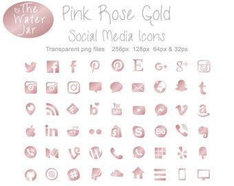 Social Media Icons Rose Gold Foil Blog Icons Rose By Juxtaurora Social Media Icons Social Media Media Icon