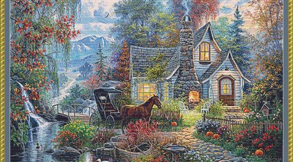 Cross Stitch Seasonal Landscape Autumn Instant Digital PDF Download Pattern by Pamela Kellogg