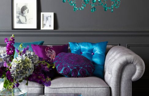 purple teal and silver living room. i love the peacock colors