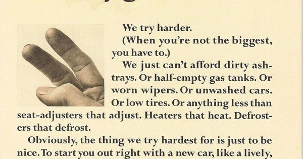 Bill Bernbach Avis We Try Harder Copy Ads Funny Commercials