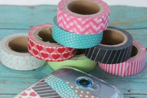 Diy phone case w washi tape less than 5 cases washi for Washi tape phone case