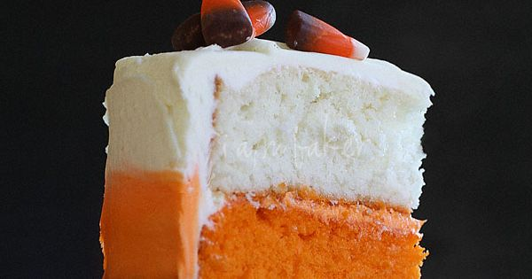 Candy Corn Cake recipe --- instead of chocolate cake you could dye