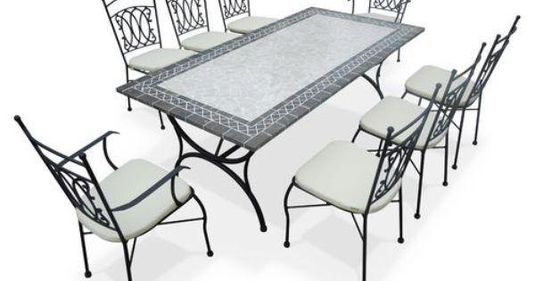 Salon De Jardin 8 Places Mosaique Adelaide Ensemble Table Et Chaise Mobilier Jardin Salon De Jardin
