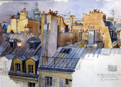 Un Jour A Paris Paris Illustration Watercolor Architecture
