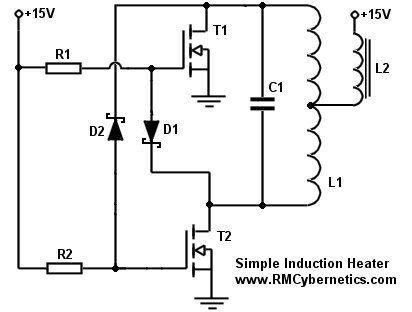 Simple Diy Induction Heater Circuit Rmcybernetics Circuit Diagram Induction Heating Induction
