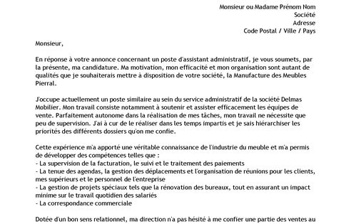 lettre de motivation assistant administratif