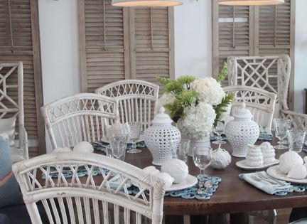 white chairs & wood shutters