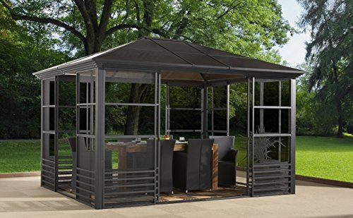 Britania 10 X12 Charcoal 77 Hard Top Screen House Solarium Aluminum Structure 8mm Polycarbonate Roof Integrated Mosq Screen House Gazebo Gazebo Canopy