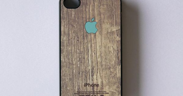 iphone 4s case - Apple logo on wood print - mintFrom BlissfulCASE