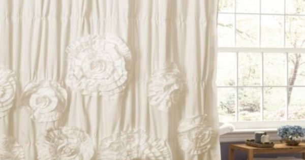 Chic Shabby Shower Curtain Ruffled Ruched Fabric