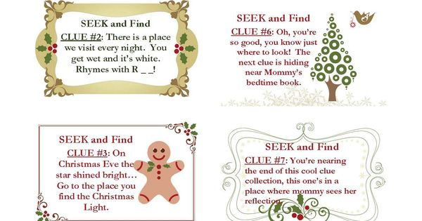 Christmas Scavenger Hunt Clues (for the younger one)some good for