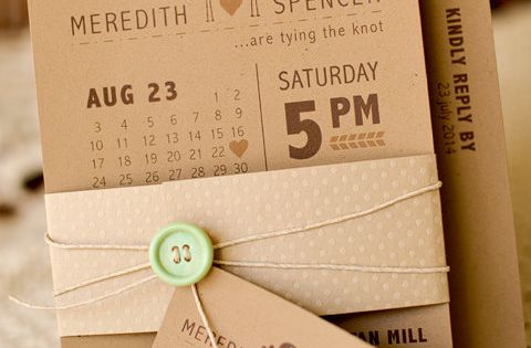 Modern bird themed wedding invitation on rustic kraft paper with mint green