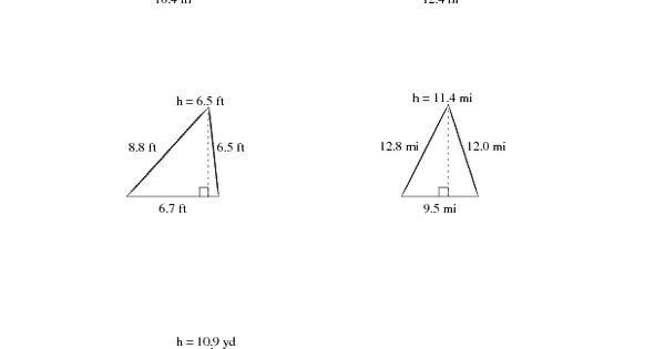 area and perimeter of triangles worksheet pdf
