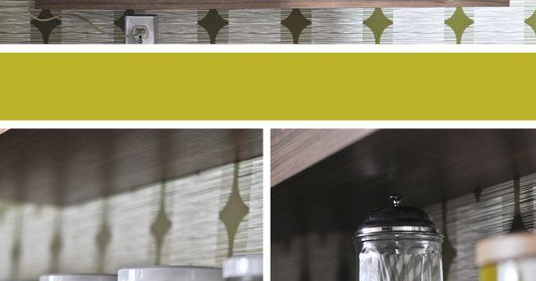 Kitchen Wall Shelves Orla Kiely Flower Tile Wallpaper