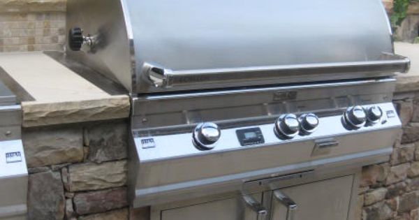 Fire Magic Grill Built Into Custom Outdoor Stone Kitchen Braselton Ga Outdoor Kitchens