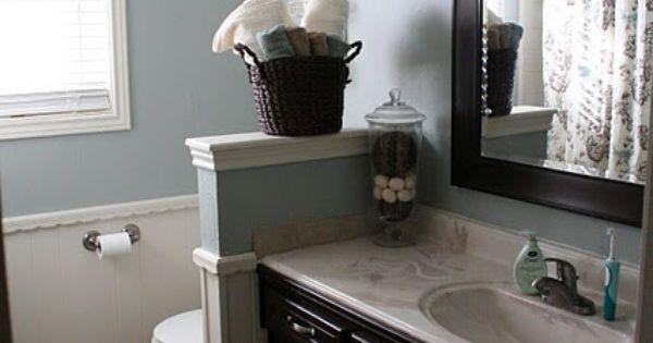 Blue Gray Walls And Espresso Cabinets Master Bath Ideas
