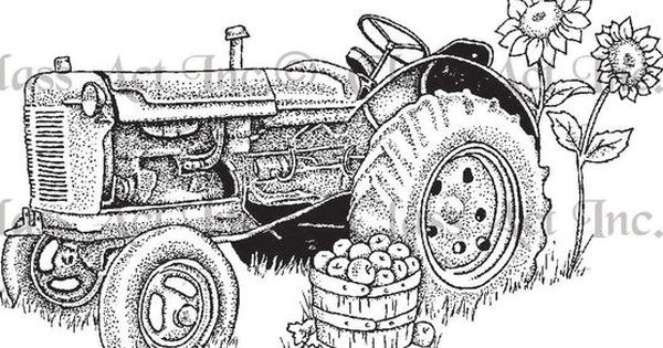 "Tractor Blue Book >> Class Act Cling Mounted Rubber Stamp 3""X5.5""-Tractor - on roulle m 