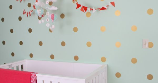 Marion S Coral And Gold Polka Dot Nursery: Mint, Coral And Gold Nursery