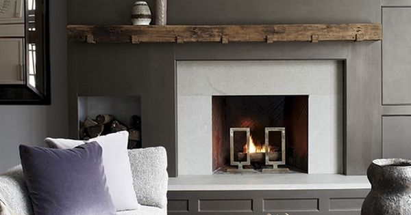 Board And Batten Fireplace Dark Gray Walls Wood Mantle