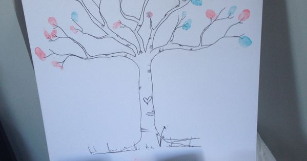 Guess The Gender Thumb Print Tree At A Gender Reveal Party