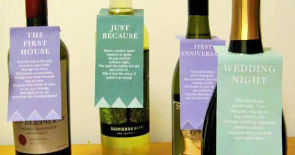 image regarding Printable Wine Tags for Bridal Shower Gift called Printable Poem Reward Tags for Bridal Shower Wine Basket. Offer